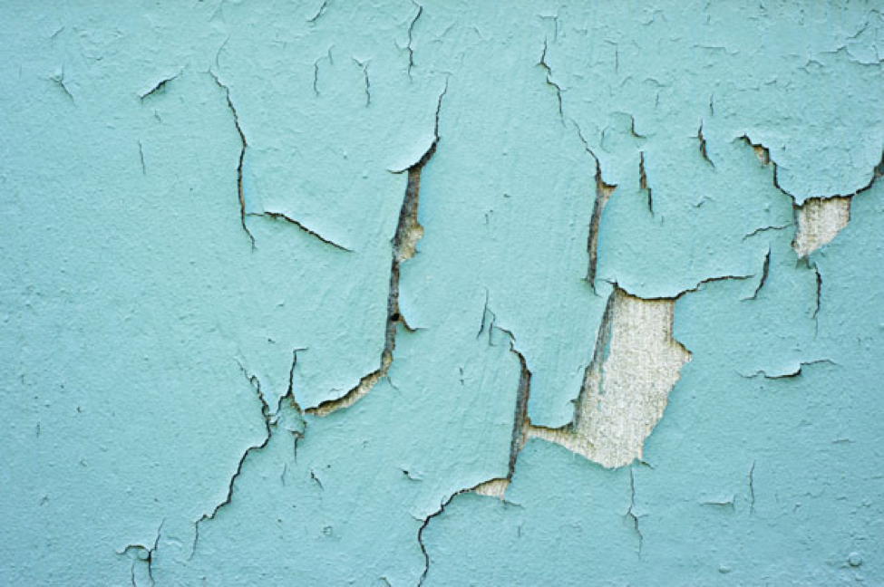 Wall with dangerous, cracking lead-based paint